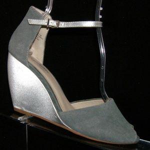 Seychelles gray suede peep toe buckle wedges 9